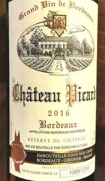 Chateau Piсard Reserve Bordeaux Grand Vin de Bordeaux 2016 Красное сухое вино отзыв