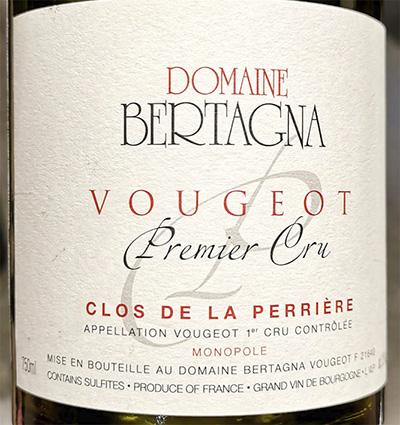 Domaine Bertagna Vougeot Premier Cru Clos de la Perriere Monopole 2017 Красное сухое вино отзыв