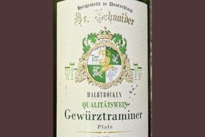 Dr. Schnaider Gewurztraminer Halbtrocken Qualitatswein Pfalz 2019 Белое сухое вино отзыв