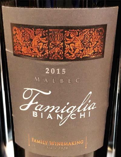Familia Bianchi Malbec Family Winemaking Argentina 2015 Красное сухое вино отзыв