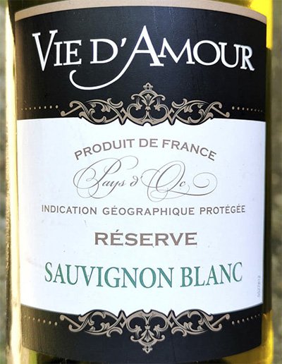 Vie d'Amour Sauvignon Blanc Reserve 2019 Белое сухое вино отзыв