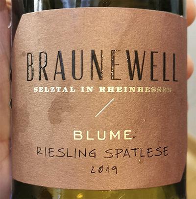 Braunewell Blume Riesling Spatlese Rheinhessen 2019 Белое сухое вино отзыв