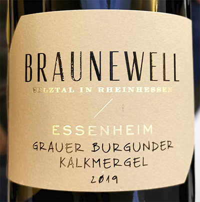 Braunewell Essenheim Grauer Burgunder Kalkmergel Rheinhessen 2019 Белое сухое вино отзыв