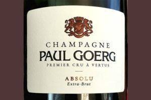Champagne Paul Goerg Absolu Extra-Brut Premier Cru a Vertus 2014 Игристое белое брют Отзыв