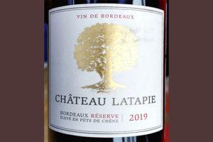 Chateau Latapie Bordeaux Reserve 2019 Красное сухое вино отзыв